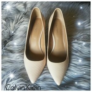 Calvin Klein patent leather nude pumps